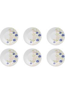 6 Pratos De Sobremesa 19Cm Azul Perfeito Cerâmica 008042 Biona