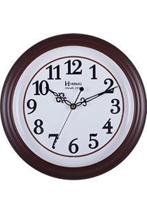 7fd9ac03978 Relógio De Parede Analógico Moderno Decorativo Estilo Madeira Mecanismo  Sweep Herweg Ipê