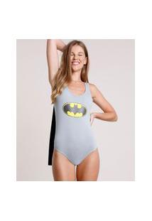 Body Feminino Carnaval Batman Com Capa Alça Larga Decote Redondo Cinza