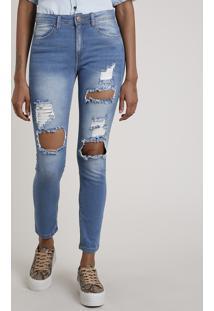 Calça Jeans Feminina Skinny Cintura Média Destroyed Azul Médio