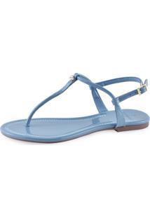 Sandália Flat La Femme Colors Azul Turquesa