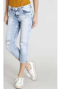 Calça Jeans Feminina Cropped Com Rasgos Azul Claro