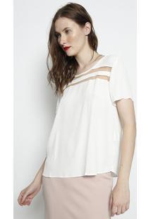 Blusa Texturizada Com Tule - Off White & Bege - Foruforum