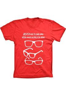 Camiseta Lu Geek Manga Curta Visão Da Vida Vermelho