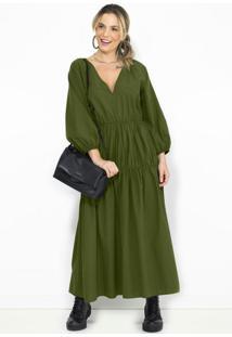 Vestido Midi Babado De Tricoline Verde