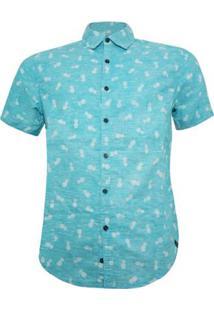 Camisa Alma De Praia Abacaxi Masculina - Masculino-Verde