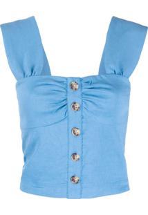 Pinko Camisola Cropped Com Botões - Azul