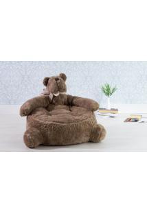 Sofá Puff Infantil De Urso Pelúcia Escura Para Quarto - 66X62X54 Cm