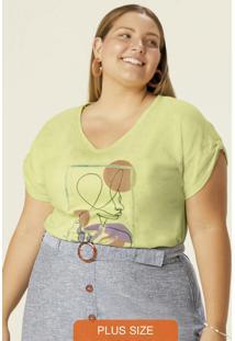Blusa Amarelo Claro Perfil Em Botonê Plus