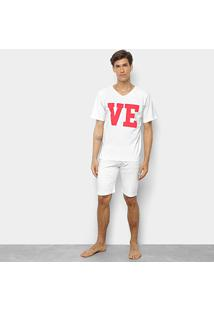 Pijama Be Cciolo Love Masculino - Masculino-Branco