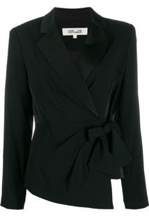 Diane Von Furstenberg Blazer Com Amarração Na Cintura - Preto