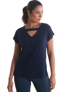 Blusa Com Abertura Nas Costas - Azul - Líquido