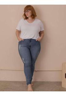 Calça Skinny Detroyed Plus Size Azul-48 Azul