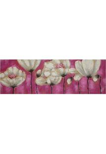 Quadro Pintura Flores Rosa 50X100 Cm Fullway