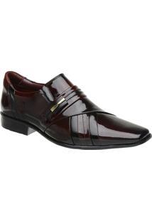 Sapato Social Malbork Em Couro Verniz Dark Red - Masculino