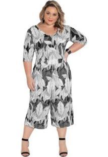 Macacão Plus Size Costas Transpassada Folhagem Feminino - Feminino-Cinza