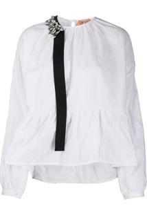 Nº21 Blusa Com Peplum E Detalhe De Aplicação - Branco