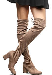 Bota Meia Over The Knee Shoestock Salto Grosso Feminina - Feminino-Marrom