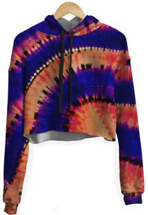 Blusa Cropped Moletom Feminina Transfusion Tie Dye Md16 - Kanui