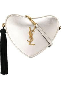 Saint Laurent Monogram Heart Crossbody Bag - Dourado