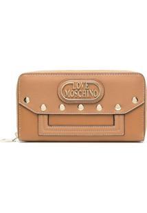 Love Moschino Carteira Com Logo Dourado - Marrom