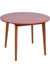 Mesa De Jantar Redonda Tóquio Vermelha E Mel 100 Cm