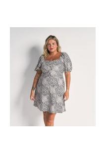 Vestido Curto Animal Print Em Crepe Com Lastex Nas Costas Curve E Plus Size Bege