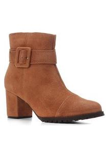 Bota Couro Cano Curto Shoestock Salto Bloco Tira Fivela Feminina