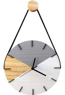 Relógio De Parede Geométrico Branco E Cinza Com Alça 28Cm
