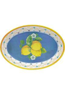 Bandeja Oval De Melamina Lemon - Bon Gourmet - Azul