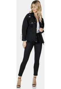 Jaqueta Jeans Oversized Cadarço Preto Reativo - Lez A Lez