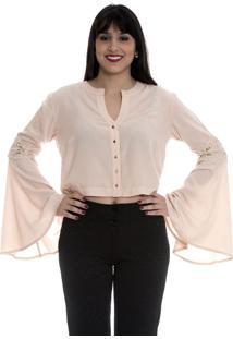 Camisa Cropped Flare Rosê