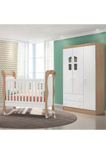 Quarto De Bebê Guarda Roupa Amore 3 Portas E Berço Colonial Certificad