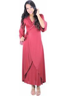 Robe Longo Estilo Sedutor De Luxo Em Liganete E Renda Vermelha