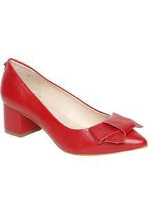 Scarpin Em Couro Com Laço- Vermelho- Salto: 6Cm-Jorge Bischoff