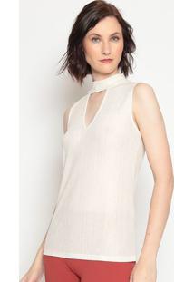 Blusa Com Vazado & Fios Metalizados - Off White & Douradmoisele
