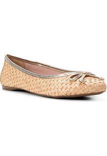 Sapatilha Shoestock Ráfia Laço Feminina - Feminino-Dourado