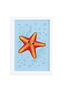 Quadro Infantil Estrela Do Mar Moldura Branca 22X32Cm