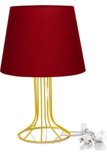 Abajur Torre Dome Vermelho Com Aramado Amarelo