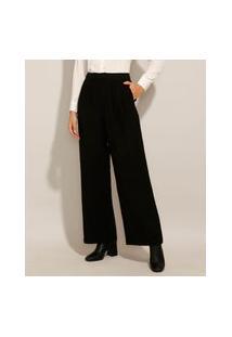 Calça Wide Pantalona Alfaiataria Com Pregas E Bolsos Cintura Super Alta Preta
