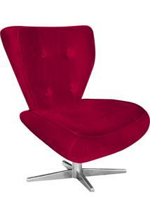 Poltrona Decorativa Tathy Suede Vermelho Com Base Estrela Aço Cromado - D'Rossi