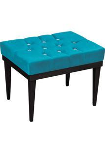 Puff Decorativo Londres Retangular Suede Azul Turquesa Com Strass - D'Rossi.