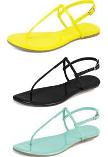 Kit 3 Pares Sandália Flat Rasteira Mercedita Shoes Amarelo/Preto/Verde Agua