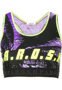 P.A.R.O.S.H. Blusa Cropped Com Estampa De Logo - Preto