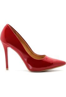 Scarpin Verniz Salto Alto Fino - Feminino-Vermelho