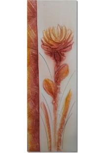 Quadro Artesanal Com Textura Crisantemo Vermelho 20X60 Uniart