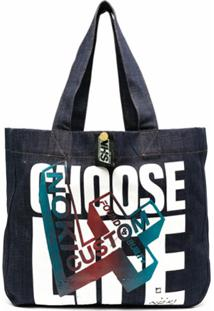 Katharine Hamnett London Bolsa Tote Jeans Choose Life - Azul