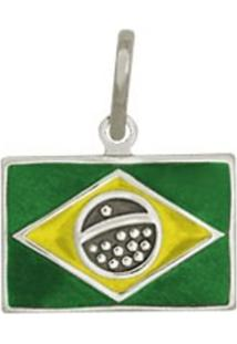 Pingente Prata Mil Bandeira Brasil Com Resina Prata