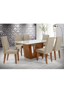 Conjunto De Mesa De Jantar Viena Com 6 Cadeiras Cannes Ii Veludo Off White E Bege