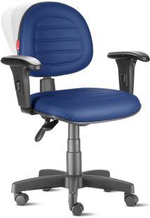 Cadeira Ergonômica Nr17 Executiva Costura Azul Escuro